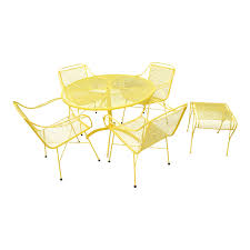 Mid Century Modern Buttercup Yellow Wrought Iron Patio Dining Set- 6 Pieces