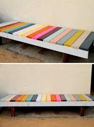DIY Painted Garden Bench