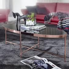 couchtisch glas schwarz oval 110x56 cm metallgestell großer wohnzimmertisch lounge tisch glastisch bronze wohnling