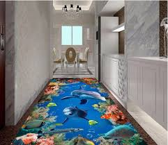 Custom Mural 3d Flooring Picture Pvc Self Adhesive Wallpaper Bedroom Marine Fish Dolphin Decor Painting