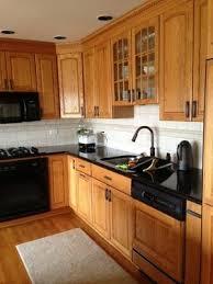 Kitchen Backsplash Designs With Oak Cabinets by Subway Tile Backsplash With Oak Cabinets Google Search Kitchen