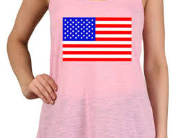 Womens Bright Colored American Flag Print Polyester Tank Tops For Regular And PLUS