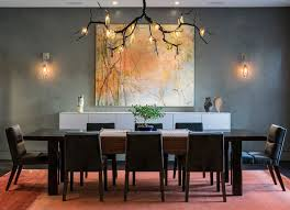 Contemporary Dining Room With Cool Chandelier