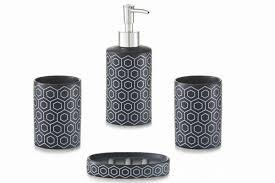 4tlg bad accessoires set keramik schwarz modern badezimmer set zeller 18247