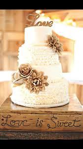 3 BURLAP FLOWERS Rose Flower Jute Rustic Cake Topper