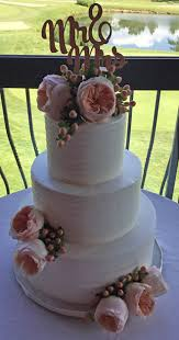 3 Tier Rustic Textured Buttercream Wedding Cake Decorated With Fresh Peach Tea Roses And Berries
