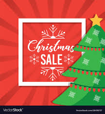 Christmas Sale Poster Tree Decoration Red Vector Image