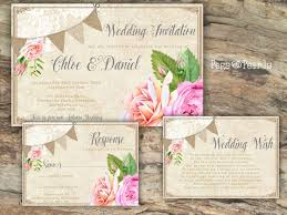 Personalised Rustic Bunting Lace Peach Pink Rose Wedding Invitations Packs Of 10
