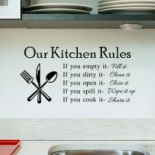 2015 Hot Quote Vinyl Art Wall Stickers Decal Our Kitchen Rules Mural Pvc Decor Free Ship Tree From Qianseguodu3566