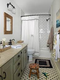 Vintage Bathroom Look Hexagon Tile Floor And Subway With Dark Grout In The Shower