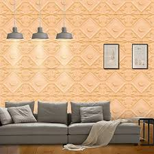 Yazi Peel And Stick Wallpaper 3D Wall Panels Self Adhesive Decals For Living Room Bedroom TV Sofa Background Decor Light Orange