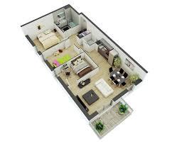 100 Rectangle House 25 More 2 Bedroom 3D Floor Plans