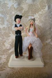 Cowboy Groom And Cowgirl Bride Wedding Cake Topper