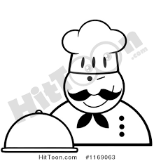 Cartoon of a Happy Black and White Chef Holding a Cloche Platter and a Winking