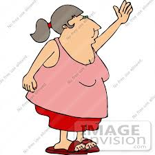Obese Middle Aged Woman in Shorts and a Tank Top Waving Clipart by