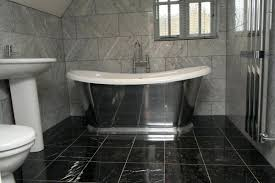 Black Marble Floor And White Bathroom Effect Tiles Flooring Texture