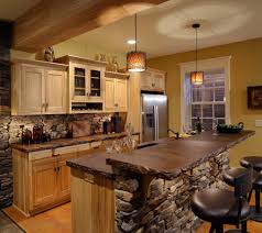 Rustic Kitchen Design Ideas With Black Bar Stools And Cabinets