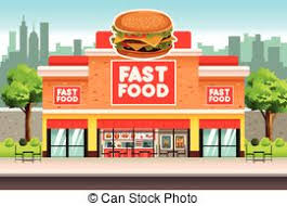 Restaurant Or Fast Food Store Front Set Cafe Shop Pizza And