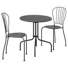 LÄCKÖ - Table+2 Chairs, Outdoor, Gray 42 Black Metal Outdoor Fniture Ding Phi Villa 300lbs Wrought Iron Patio Bistro Chairs With Armrest For Genbackyard 2 Pack Wrought Iron Garden Fniture Mainstays 3piece Set Gorgeous Patio Design Using Black Chair And Round Table With Curving Legs Also Fabric Arlington House Chair Commercial Sams Club 2498 Slat At Home Lck Table2 Chairs Outdoor Gray Mesh Back