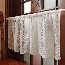 ZHH Embroidery Semi Sheer Lace Curtain Kitchen Cafe Dining Room Window Valances 17 By 59