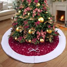 Ourwarm 48 Inch Christmas Tree Skirt Velvet Snowflake Xmas New Year 2018 Decoration For Home Discount Decorations