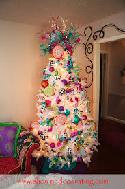 75 Flocked Christmas Tree by Whitechristmas Christmastree Colorful Ornaments And Ribbon Bring