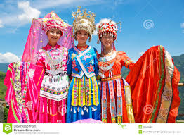 chinese ethnic girls in traditional dress editorial stock image