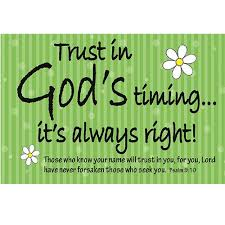 Trust In Gods Timing Green Pass It On Message Card YC865