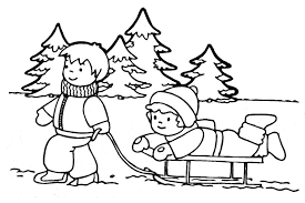 Playing In Winter Coloring Pages For Girls