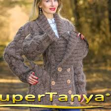brown hand knitted mohair sweater coat fuzzy shawl collar cardigan
