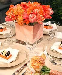 Red Orange Flower Arrangement Table Centerpiece Ideas