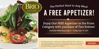 Free appetizer valued at $12 95 at Bio Tuscan Grille