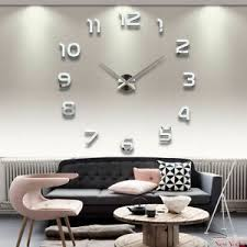 details zu wanduhr xl deko spiegel edelstahl uhr wandtattoo wand uhr groß clock silber