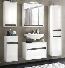 details zu bad möbel set in weiss hochglanz lack grau hängeschränke badmöbel badezimmer sol