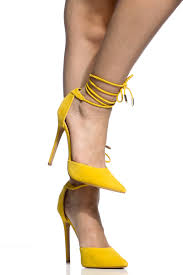 yellow faux suede wrap around pointed toe heels cicihot heel