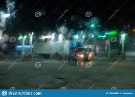 Blurred View Of Trucks In Gas Station And Snowy Road Through Car ...