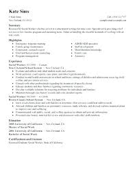 Social Worker Resume Template Examples Work Templates Free