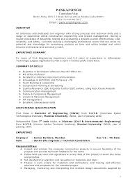 Resume Construction Project Manager Curriculum Vitae B Position Technical Sample India