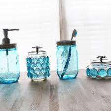 Beach Glass Bath Accessories by Charming Best Mason Jar Glass Set Products On Wanelo Of Blue