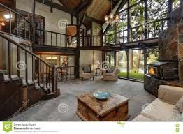 100 Modern Wooden Houses Cottage House Interior With Living Room Close Up Stock
