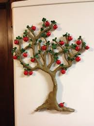 This Apple Tree Refrigerator Magnet Is H With Each Having Its Own Formed Into The Back So They Can Be Placed Anywhere On