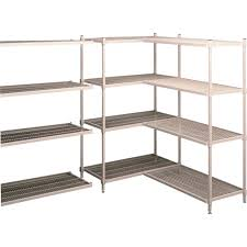 Tennsco Steel Storage Cabinets by Decor L Shaped Wire Shelves With Wood Shelf And Tile Flooring