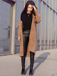 Fall Winter Korean College Style Casual Long Sleeved Double Pockets Knitted Midi Cardigan