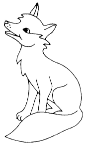 Cute Little Fox Sit Coloring Page