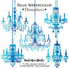 Blue Chandelier Watercolor Clipart Silhouettes Clip Art