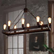 Rustic 8 Light Wrought Iron Industrial Style Lighting Fixtures For Attractive Home Chandeliers Plan