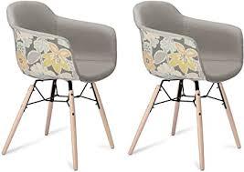 ibbe design 2er set grau gelb bunt esszimmerstühle blumenmuster stoff polsterstuhl mit armlehnen ernest natur massivholzbeinen l59xb57xh80 cm