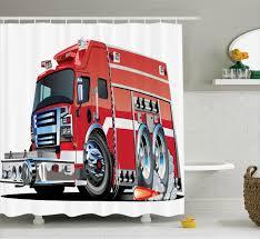 Cartoon Shower Curtain Set, Big Fire Truck With Emergency Equipments ...