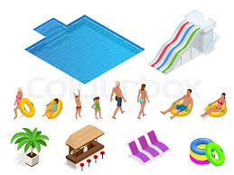 Isometric Set Icons Of Summer Water Park Holiday Square Swimming Pool And Slides Vector Illustration Isolated On White Background