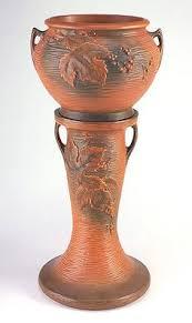 Roseville Pottery Rosecraft Vintage Brown Jardiniere and Pedestal
